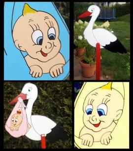 Adebar mit blauer Babywindel XXL - Bild vergrößern
